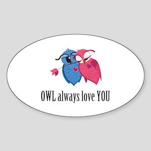 Romantic Owls Sticker (Oval)