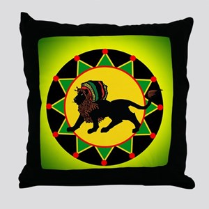 Jah King Rasta Lion Throw Pillow