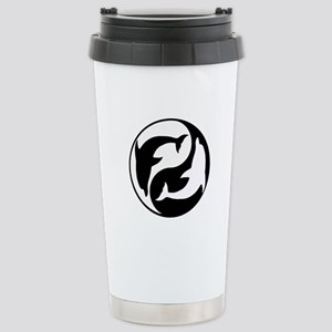 Black And White Yin Yang Dolphins Travel Mug