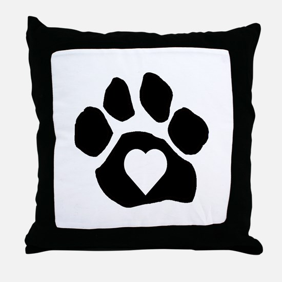 Heart In Paw Throw Pillow