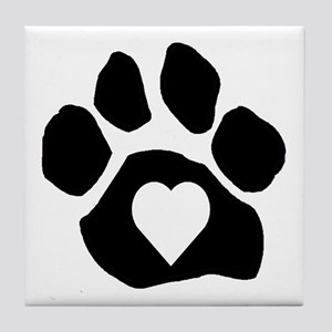 Heart In Paw Tile Coaster