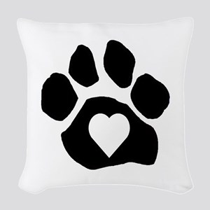 Heart In Paw Woven Throw Pillow