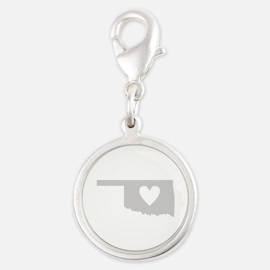 Heart Oklahoma Silver Round Charm