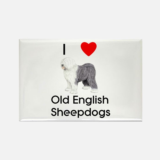 I Love Old English Sheepdogs (pic) Rectangle Magne