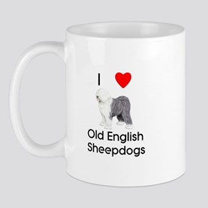 I Love Old English Sheepdogs (pic) Mug