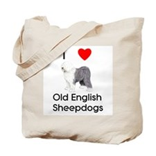 I Love Old English Sheepdogs (pic) Tote Bag