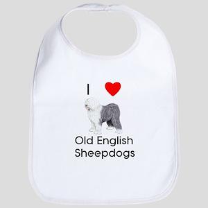 I Love Old English Sheepdogs (pic) Bib