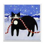 Black Tuxedo CAT & Sleigh Bells Art Tile