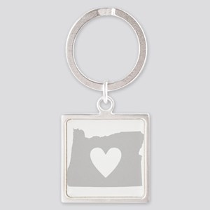 Heart Oregon Square Keychain