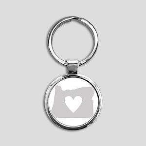 Heart Oregon Round Keychain