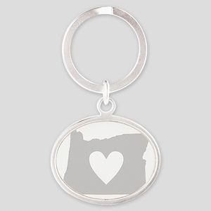 Heart Oregon Oval Keychain