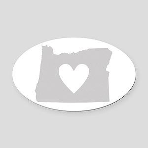 Heart Oregon Oval Car Magnet