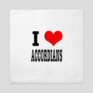 I Heart (Love) Accordians Queen Duvet