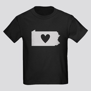 Heart Pennsylvania Kids Dark T-Shirt