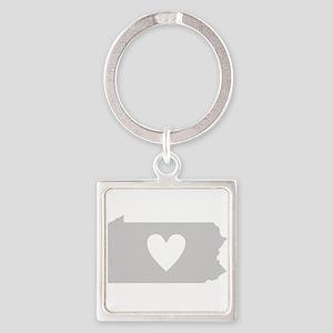 Heart Pennsylvania Square Keychain