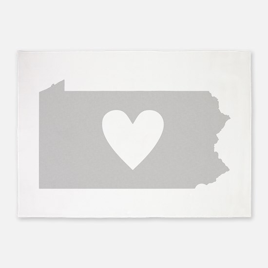 Heart Pennsylvania 5'x7'Area Rug