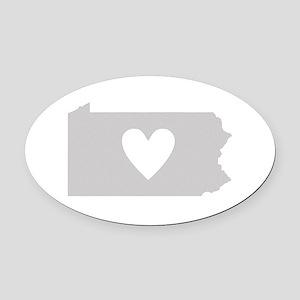 Heart Pennsylvania Oval Car Magnet