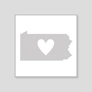 """Heart Pennsylvania Square Sticker 3"""" x 3"""""""