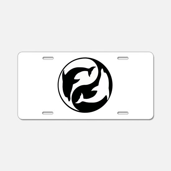 Black And White Yin Yang Dolphins Aluminum License