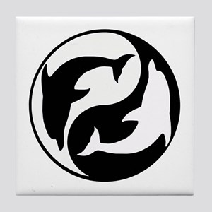 Black And White Yin Yang Dolphins Tile Coaster