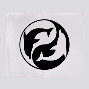 Black And White Yin Yang Dolphins Throw Blanket