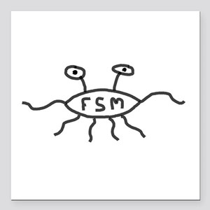 "Flying Spaghetti Monster Square Car Magnet 3"" x 3"""