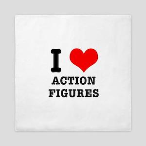 I Heart (Love) Action Figures Queen Duvet
