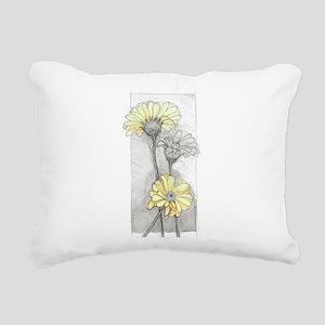 painted gerbera yellow Rectangular Canvas Pillow