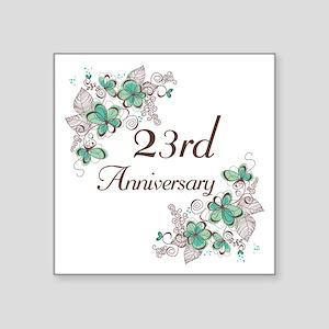 "23rd Anniversary Floral Square Sticker 3"" x 3"""