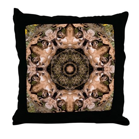Cougar Mandala Throw Pillow