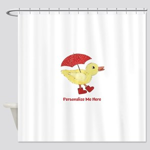 Personalized Duck in Boots Shower Curtain