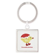 Personalized Duck in Boots Square Keychain