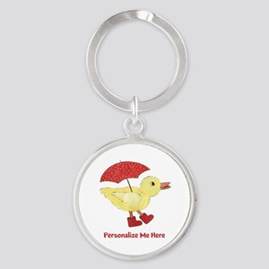 Personalized Duck in Boots Round Keychain