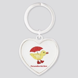 Personalized Duck in Boots Heart Keychain