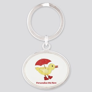 Personalized Duck in Boots Oval Keychain