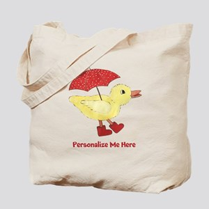 Personalized Duck in Boots Tote Bag