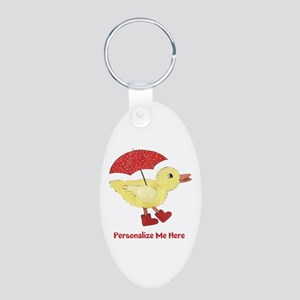 Personalized Duck in Boots Aluminum Oval Keychain