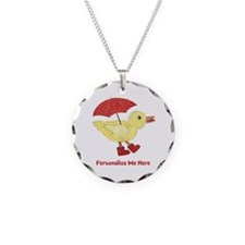 Personalized Duck in Boots Necklace Circle Charm