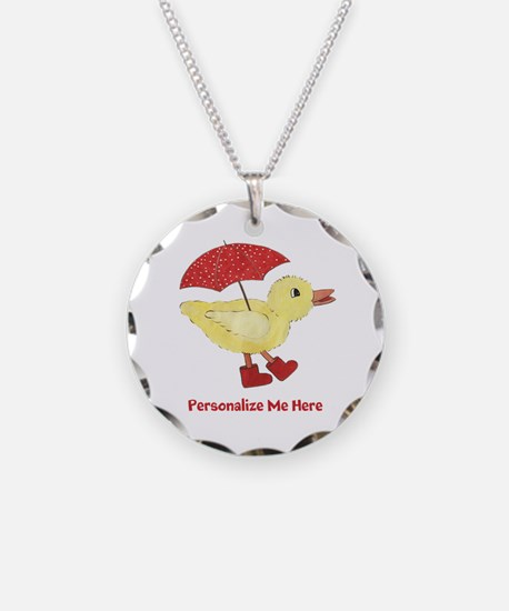 Personalized Duck in Boots Necklace