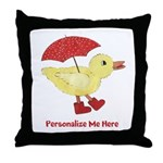 Personalized Duck in Boots Throw Pillow