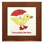 Personalized Duck in Boots Framed Tile