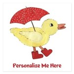 Personalized Duck in Boots 5.25 x 5.25 Flat Cards