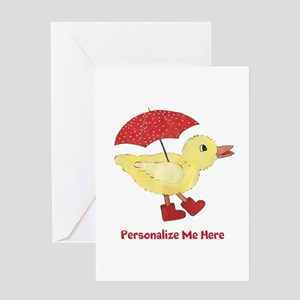 Personalized Duck in Boots Greeting Card