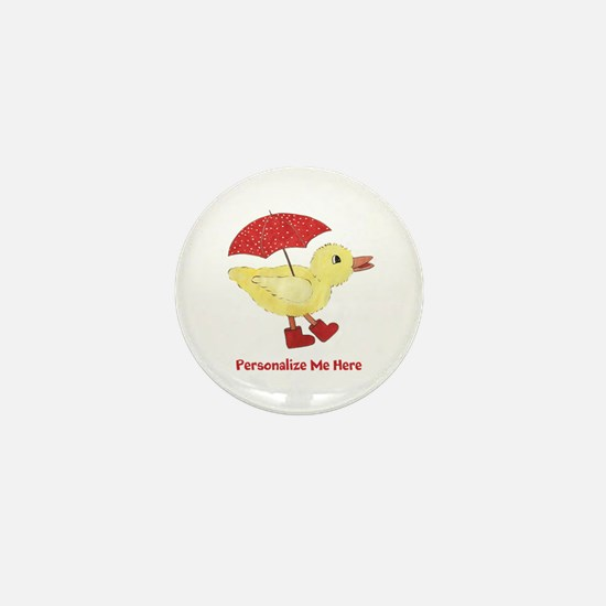 Personalized Duck in Boots Mini Button