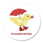 Personalized Duck in Boots Round Car Magnet