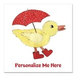 Personalized Duck in Boots Square Car Magnet 3