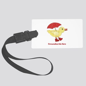Personalized Duck in Boots Large Luggage Tag