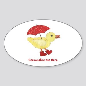 Personalized Duck in Boots Sticker (Oval)