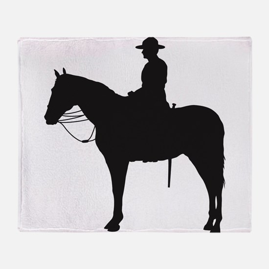 Canadian Mountie Silhouette Throw Blanket