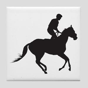 Jockey Silhouette Tile Coaster